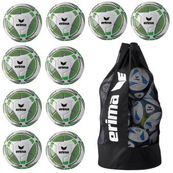 10 x Erima Senzor Lite 350g + Ballsack grau/green gecko | 5