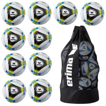 10 x ERIMA Hybrid Lite 350g + Ballsack blau/schwarz/gelb | 4
