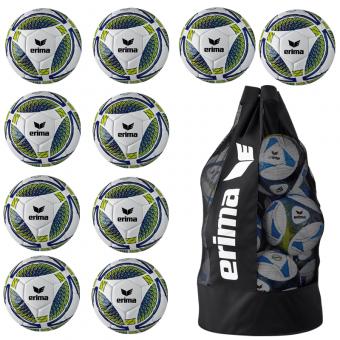 10 x Erima Senzor Training + Ballsack new navy/lime | 5